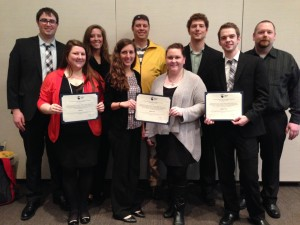 Members of  LTU's team that took first place in the main category of the Pankow architectural engineering compeititon are  (L-R in the back row) Kevin Lambert, Breanne May, Zachary Lahrman, Michael Paciero, Michael McMurphy. In the front are Rachel LaCasse, Francesca Montana, Elizabeth Ozzello and Timothy Truitt.