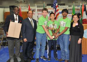 The Metal Robots team from Canton won the Junior Exhibition competition at the Robofest World Championships. From left to right are Lego Education representative Ivery Toussant, LTU President Virinder Moudgil, Darren Tascillo, Jonathan Mi, Krishna Gogineni and Toyota representative Yan Liu.