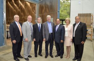 Attending the July 16 briefing at Lawrence Technological University were (L-R) Doug Smith, vice president of the Michigan Economic Development Corp.; Kirk Steudle, director of the Michigan Department of Transportation; Shigeto Tanaka, chairman of Tokyo Rope; Gov. Rick Snyder; LTU President Virinder Moudgil; LTU Provost Maria Vaz; and Nabil Grace, dean of LTU's College of Engineering.